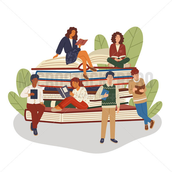 Pile or stack of books with multicultural group of people - Vector illustrations for everyone | Microstocker.Pro