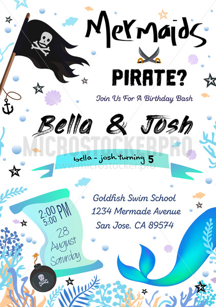 Pirate or mermaid birthday costume party invitation - Vector illustrations for everyone | Microstocker.Pro