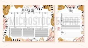 Printable planner design template weekly list - Vector illustrations for everyone | Microstocker.Pro