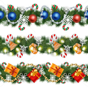Realistic garlands on pine tree branches set - Vector illustrations for everyone | Microstocker.Pro