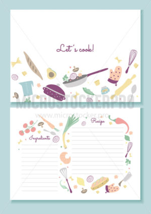 Recipe book printable template lets cook lettering - Vector illustrations for everyone | Microstocker.Pro