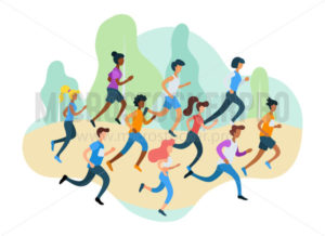 Running sporty people take part in marathon - Vector illustrations for everyone | Microstocker.Pro