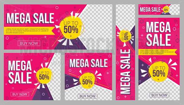 Sale banners set promo templates with text - Vector illustrations for everyone | Microstocker.Pro