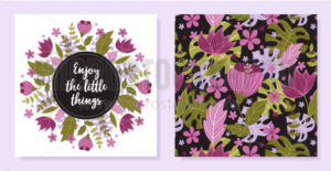 Set of beautiful floral cards with lettering - Vector illustrations for everyone | Microstocker.Pro