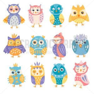 Set of bright colourful cute owls ceremony - Vector illustrations for everyone | Microstocker.Pro