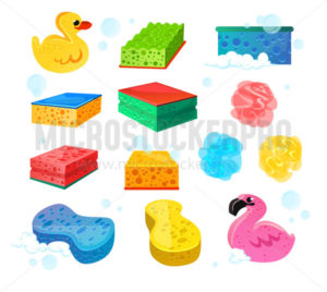 Set of bright colourful sponges for bath wash - Vector illustrations for everyone | Microstocker.Pro