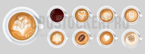 Set of coffee cups with different toppings - Vector illustrations for everyone | Microstocker.Pro