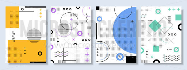 Set of colourful abstract geometric banners - Vector illustrations for everyone | Microstocker.Pro