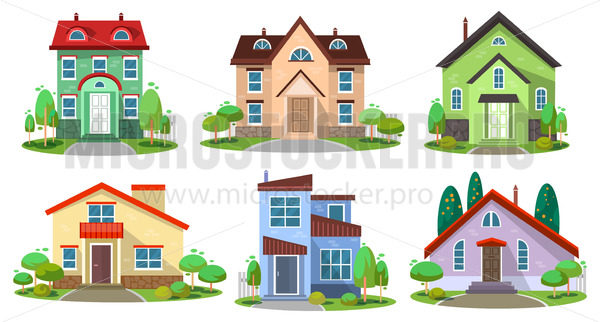 Set of colourful luxury buildings for living - Vector illustrations for everyone   Microstocker.Pro
