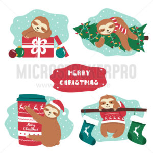 Set of cute lazy festive christmas sloth and decor - Vector illustrations for everyone | Microstocker.Pro