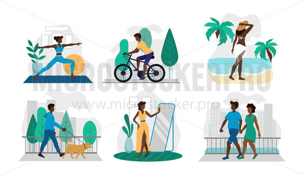 Set of different lifestyle situations in pics - Vector illustrations for everyone | Microstocker.Pro