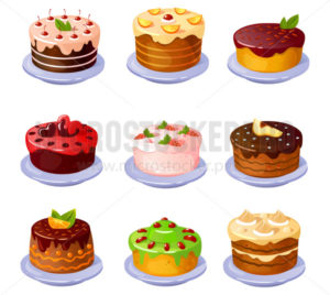Set of different yummy colourful cakes with fruits - Vector illustrations for everyone | Microstocker.Pro