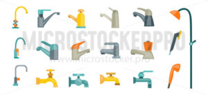 Set of faucets in different colour for bath - Vector illustrations for everyone | Microstocker.Pro
