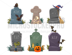 Set of gravestones with rest in peace inscription - Vector illustrations for everyone | Microstocker.Pro