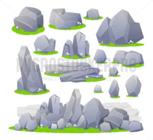 Set of grey stones in different shapes and sizes - Vector illustrations for everyone | Microstocker.Pro