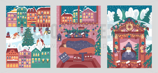 Set of merry christmas and happy new year cards - Vector illustrations for everyone | Microstocker.Pro