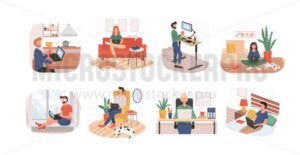 Set of remote working from home or any place - Vector illustrations for everyone | Microstocker.Pro