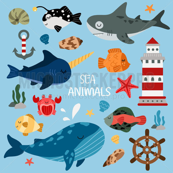 Set of sea animal characters and decoration - Vector illustrations for everyone | Microstocker.Pro