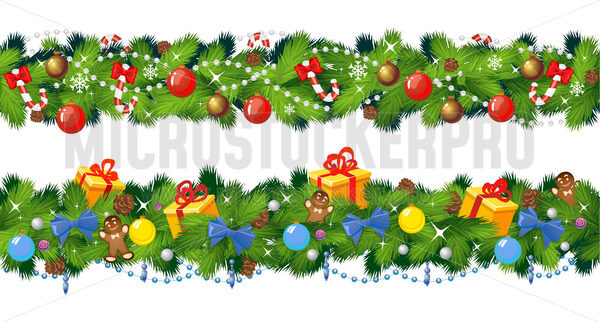 Set of seamless christmas garlands with decoration - Vector illustrations for everyone | Microstocker.Pro