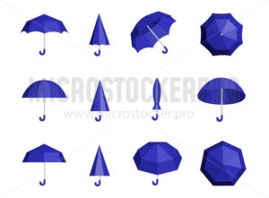 Set of umbrellas and parasols in various positions - Vector illustrations for everyone | Microstocker.Pro