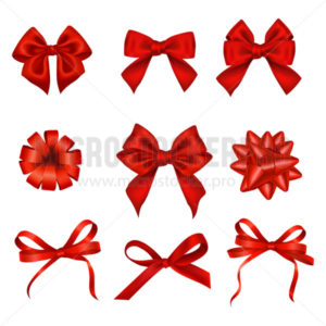 Set of various festive red bows for celebration - Vector illustrations for everyone | Microstocker.Pro