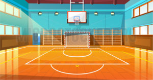 Shining basketball court with wooden floor - Vector illustrations for everyone | Microstocker.Pro