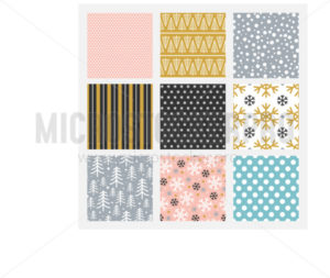 Simple bright winter patterns set in square - Vector illustrations for everyone | Microstocker.Pro