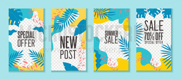 Social networks banners and sale templates with tropical leaves - Vector illustrations for everyone | Microstocker.Pro