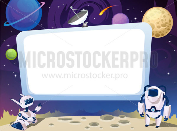 Space card with aliens on cosmic background - Vector illustrations for everyone | Microstocker.Pro