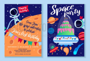 Space party invitation template with bright decor - Vector illustrations for everyone | Microstocker.Pro