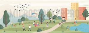 Spring leisure with peaceful park landscape - Vector illustrations for everyone | Microstocker.Pro