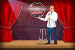 Stand-up comedian performing gig on stage - Vector illustrations for everyone | Microstocker.Pro