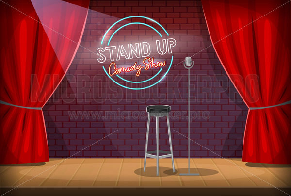 Stand-up stage with mic, red curtains and comedy show logo - Vector illustrations for everyone | Microstocker.Pro