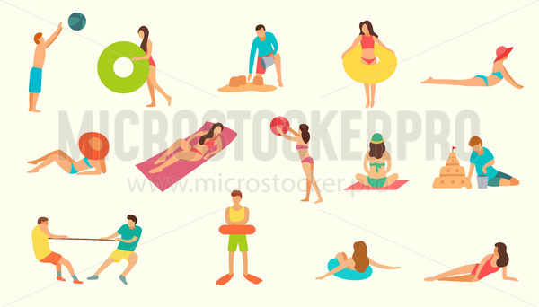Summer beach activities set on white backdrop - Vector illustrations for everyone | Microstocker.Pro
