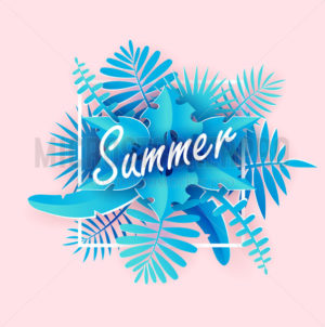 Summer tropical banner in paper art style - Vector illustrations for everyone | Microstocker.Pro