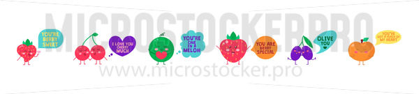 Summer yummy fruits with funny quotes set - Vector illustrations for everyone | Microstocker.Pro