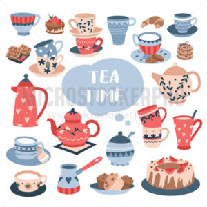 Tea time ceremony with luxury ceramic tableware - Vector illustrations for everyone | Microstocker.Pro