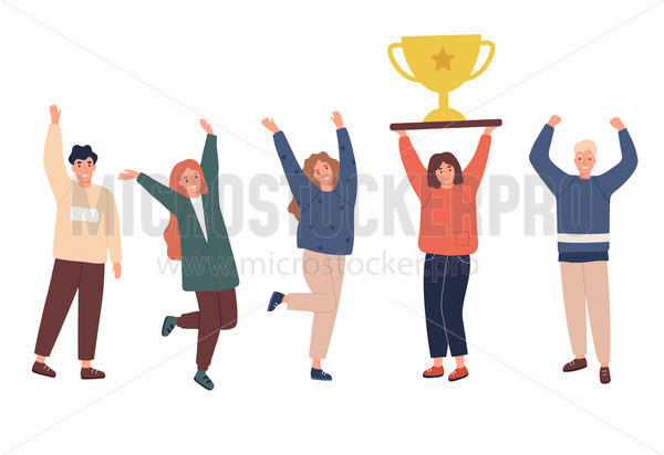 Team of workers celebrating their goal achievement concept - Vector illustrations for everyone | Microstocker.Pro