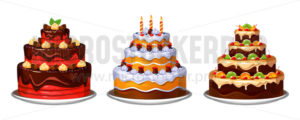 Three tier delicious homemade cakes with decor - Vector illustrations for everyone | Microstocker.Pro