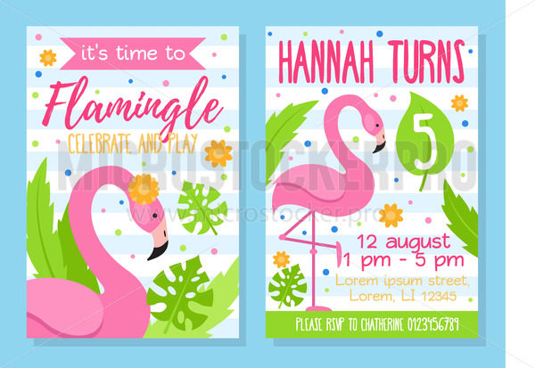 Time to flamingle celebrate and play invitation template - Vector illustrations for everyone | Microstocker.Pro