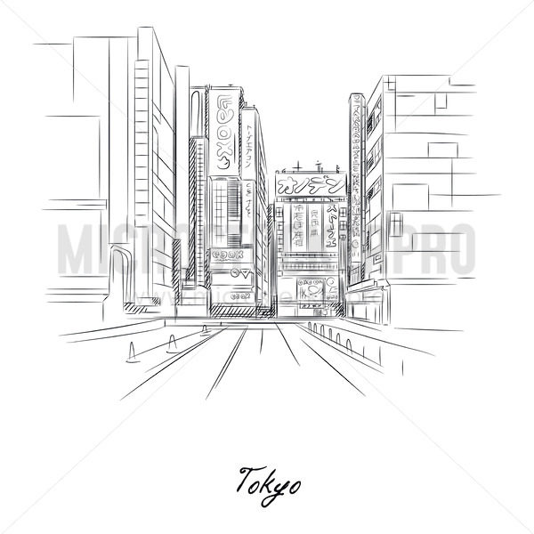 Tokyo city and streets sketch with pencil on paper - Vector illustrations for everyone | Microstocker.Pro