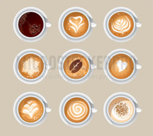Top view of aromatic cups with tasty coffee - Vector illustrations for everyone | Microstocker.Pro