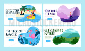 Travel vacation banners with inscription - Vector illustrations for everyone | Microstocker.Pro