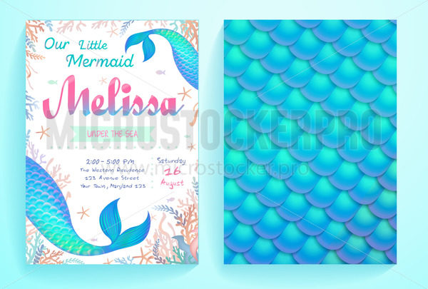 Under sea party invitation template for event - Vector illustrations for everyone | Microstocker.Pro