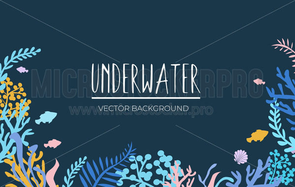 Under sea simple landscape with fish and plant - Vector illustrations for everyone | Microstocker.Pro
