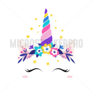 Unicorn queen, face of fantasy animal with flowers - Vector illustrations for everyone | Microstocker.Pro