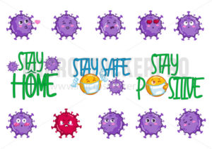 Virus stickers collection stay home stay safe - Vector illustrations for everyone | Microstocker.Pro