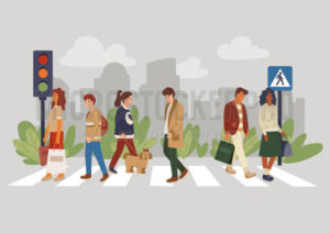 Walking people on crosswalk crossing with dog - Vector illustrations for everyone | Microstocker.Pro