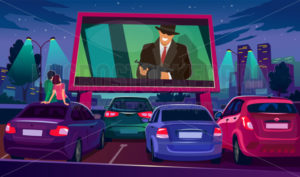 Watch cinema on big screen under open air - Vector illustrations for everyone | Microstocker.Pro