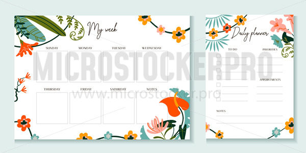 Weekly and daily planner template with flowers - Vector illustrations for everyone | Microstocker.Pro